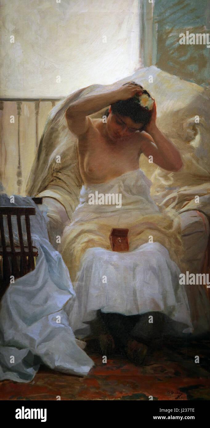 La Toilette 1910 by Gonzalo Bilbao 1860-1938 toiletry dressing grooming - Stock Image