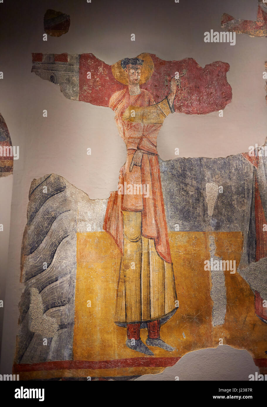 Fresco Transfer to canvas From the Church of Saint Joan Boi, Val de Boi, High Ribagorca, Pyranese, Spain. MNAC - Stock Image