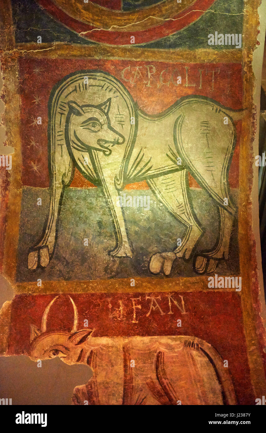 Mythical medieval animal, 12th Century Romanesque fresco, Church of Saint Joan Boi, al de Boi, Spain. National Art - Stock Image