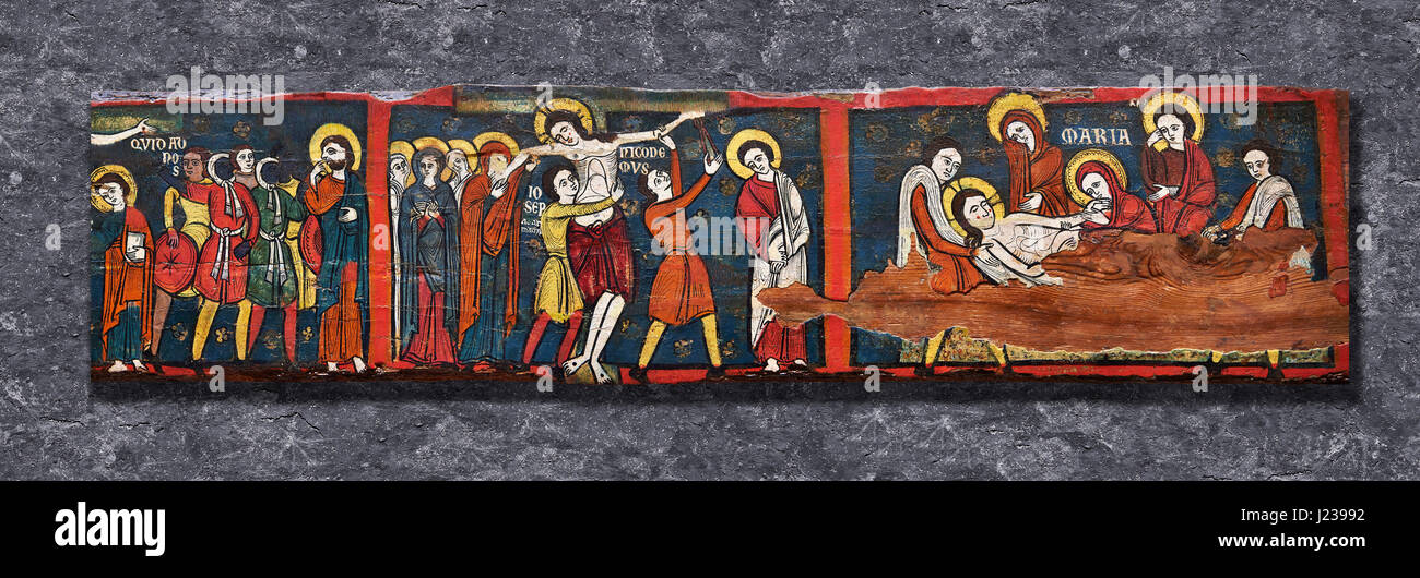 Romanesque painted Beam depicting The Passion and the Stations of the Cross Around 1192-1220, Tempera on wood from - Stock Image