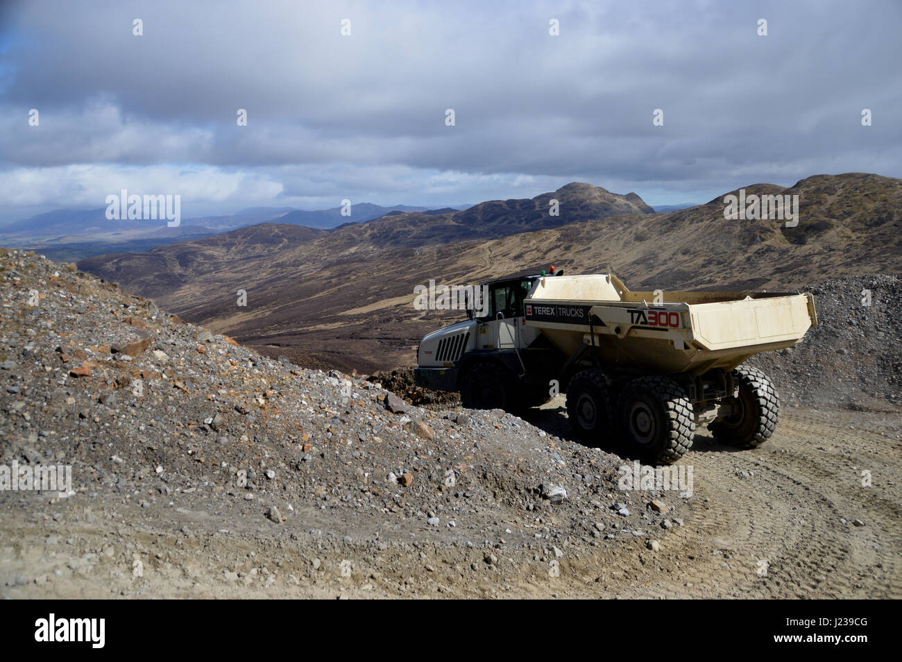 The TA300 Terex Articulated Dump Truck used in Mining Operations at Foss Barytes Mine near Aberfeldy, Tay Forest - Stock Image