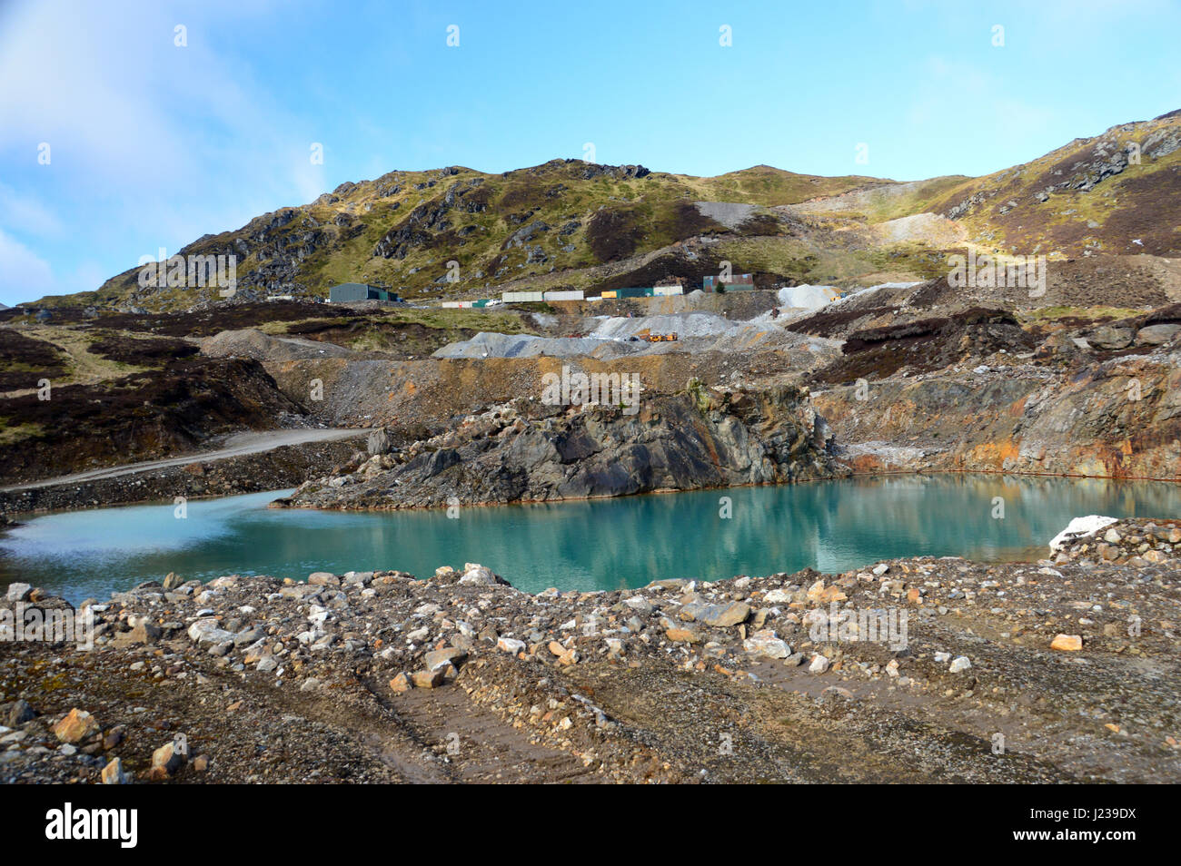 One the Catchment Pools from the Mining Operations at Foss Barytes Mine near Aberfeldy, Below the Scottish Mountain - Stock Image