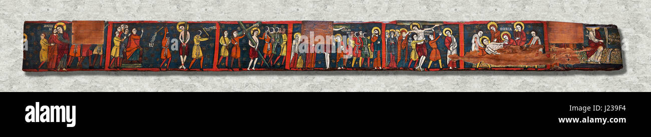 Romanesque painted Beam depicting The Passion and the Stations of the CrossAround 1192-1220, Tempera on wood from - Stock Image