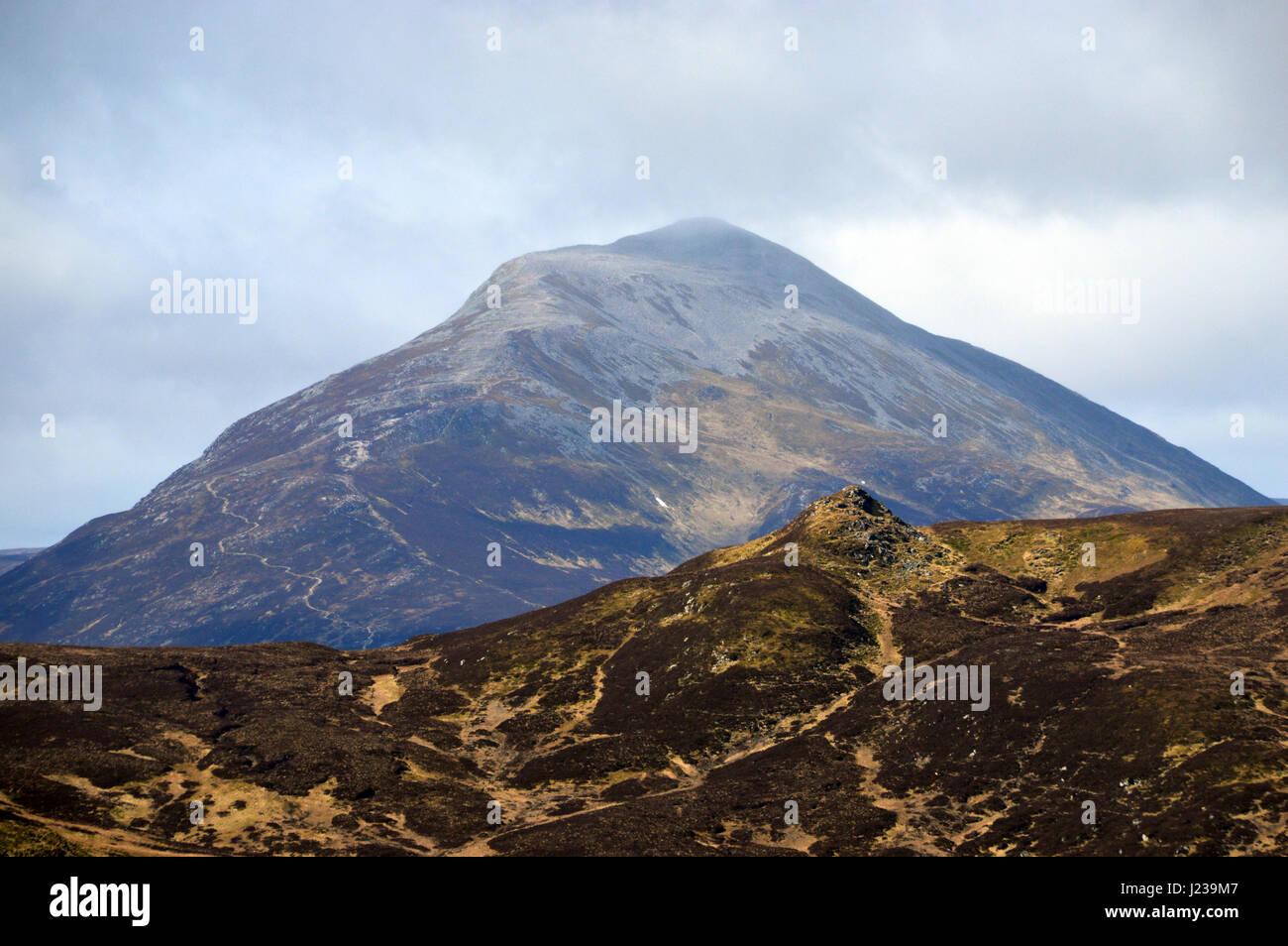 The Scottish Mountain Munro Schiehallion from Summit of the Corbett Farragon Hill near Aberfeldy,Tay Forest Park, - Stock Image