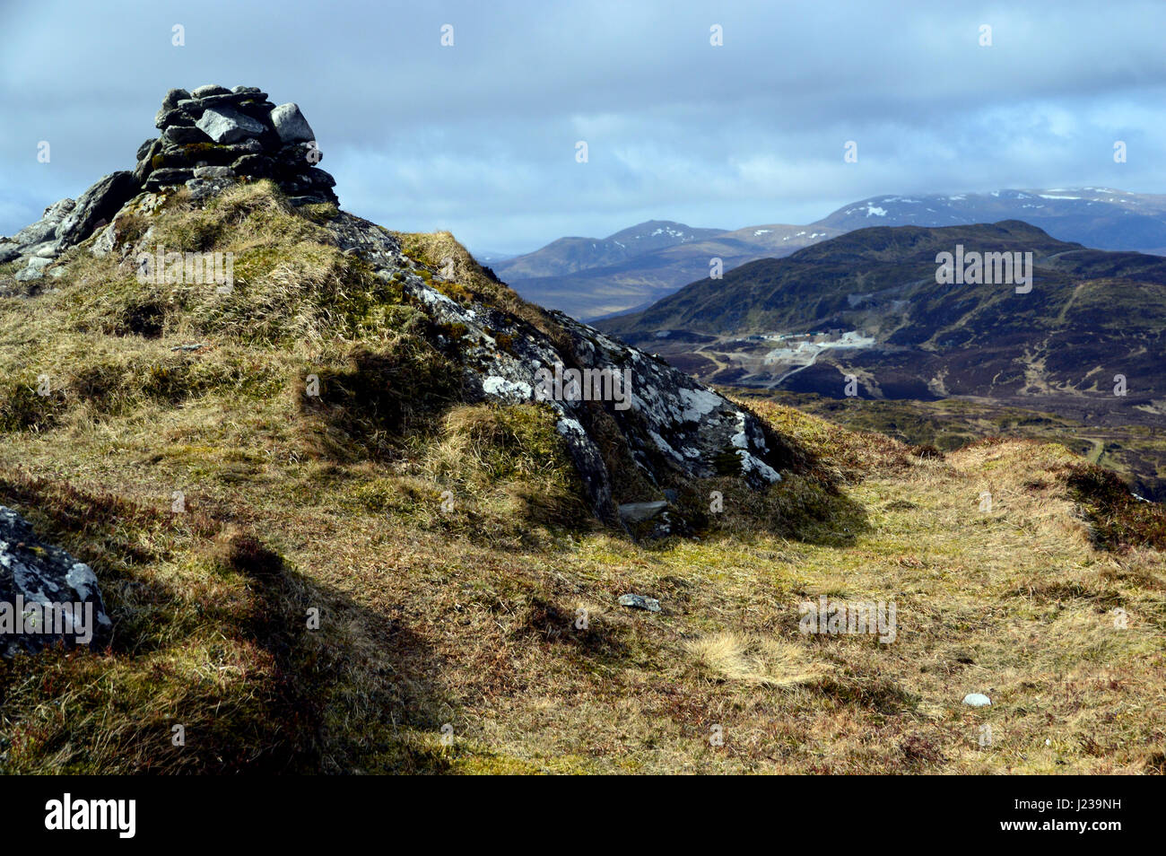 The Scottish Mountain Corbett Meall Tairneachan & Foss Mine from the Summit Cairn of Farragon Hill, Tay Forest - Stock Image