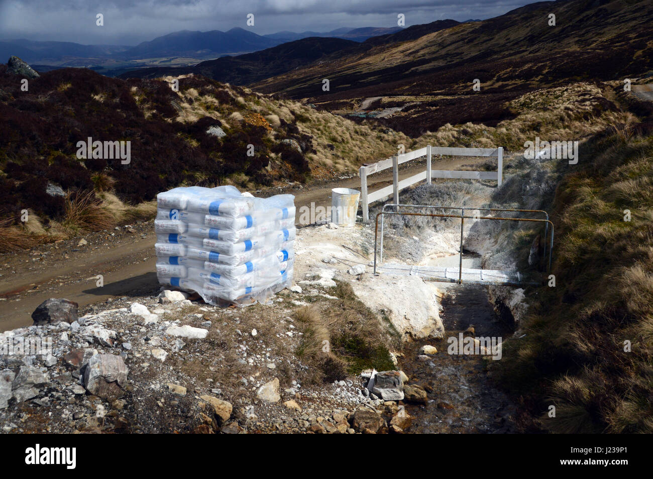 Lime Used during Mining Operations at Foss Barytes Mine near Aberfeldy, Below the Scottish Mountain Corbett Meall - Stock Image