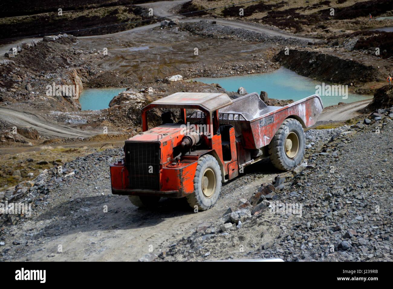 Underground Dumper Truck use during Mining Operations at Foss Barytes Mine near Aberfeldy, Below the Scottish Mountain - Stock Image