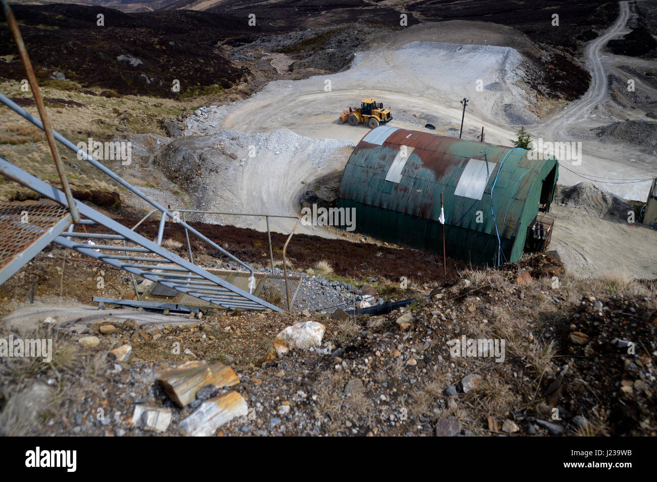 Mining Operations at Foss Barytes Mine near Aberfeldy, Below the Scottish Mountain Corbett Meall Tairneachan, Tay - Stock Image