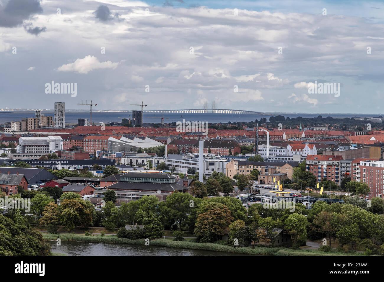 View of the Copenhagen and Erusunnsky Bridge - Stock Image