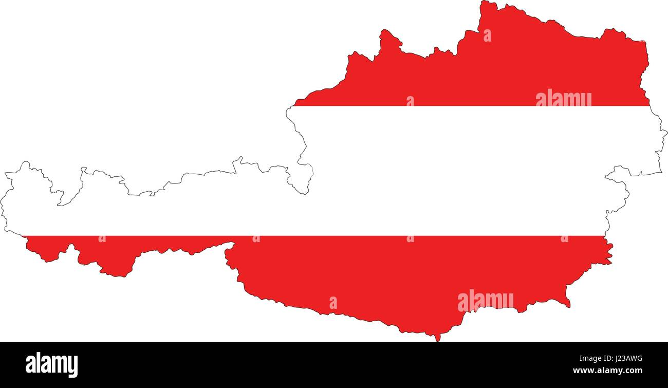 High resolution Austria map with country flag. Flag of the Austria overlaid on detailed outline map isolated on Stock Vector