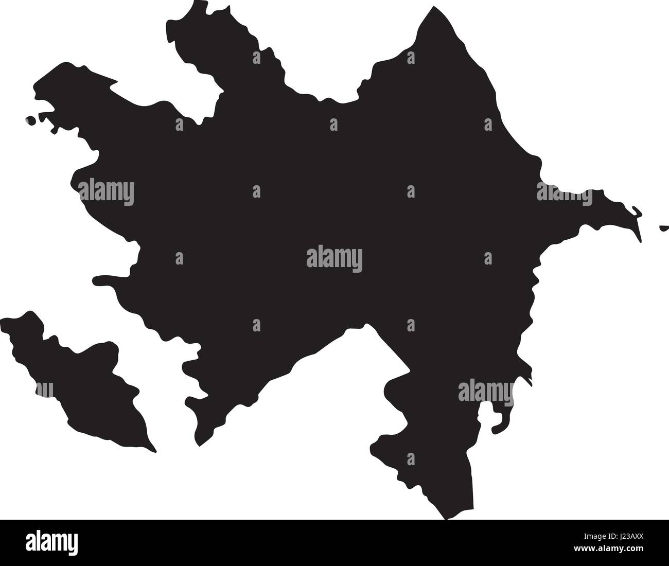 Black map of Azerbaijan on a white background - Stock Vector