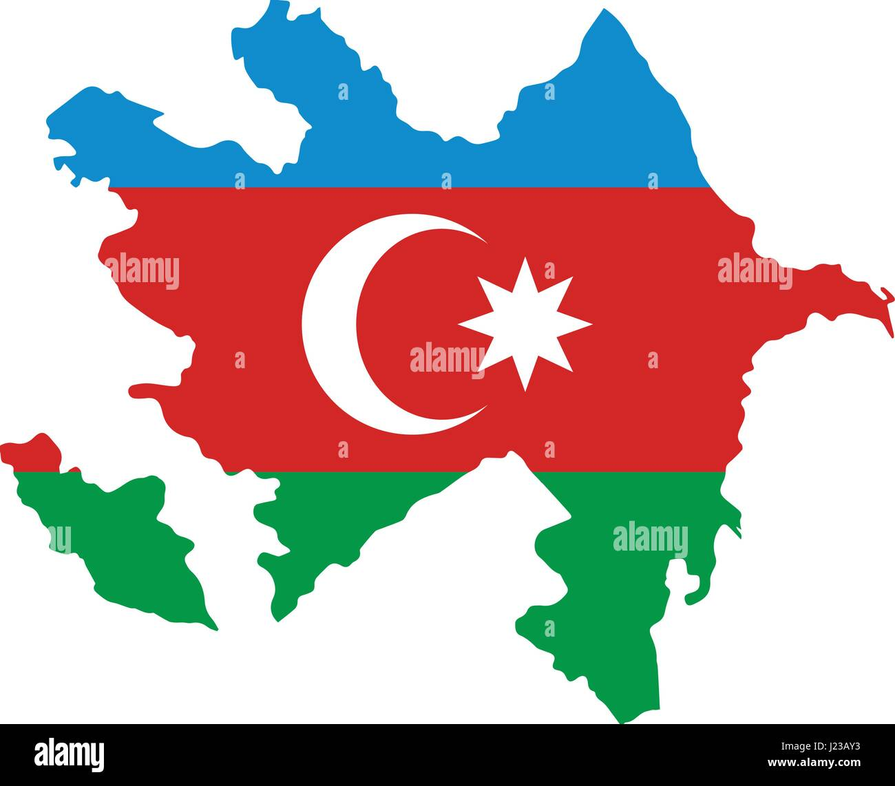 map of Azerbaijan with the image of the national flag - Stock Vector