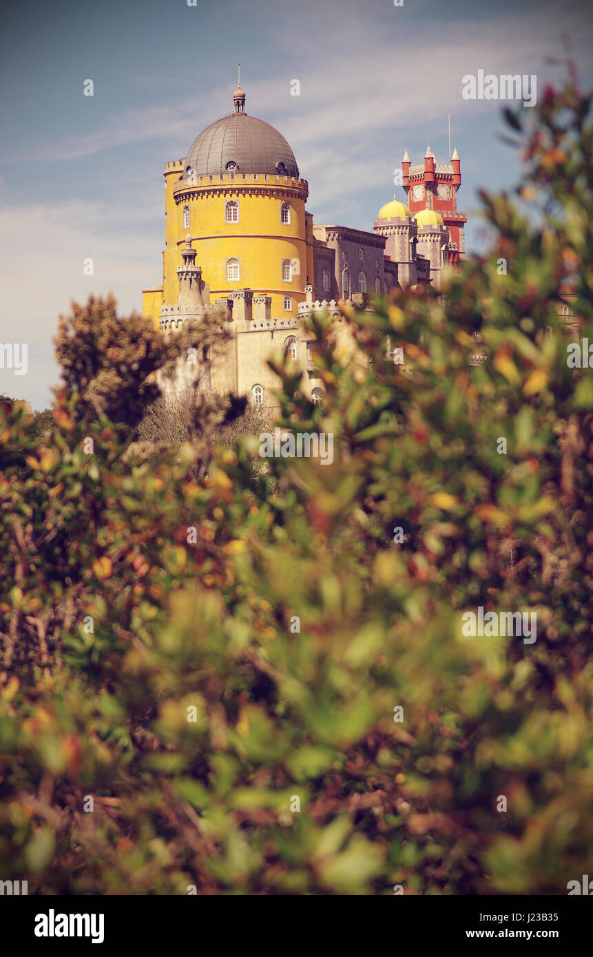 View of the Pena Palace in Sintra National Park, Portugal Stock Photo