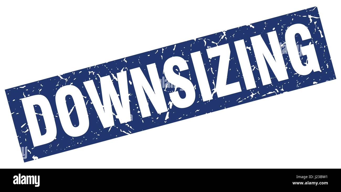 square grunge blue downsizing stamp - Stock Vector