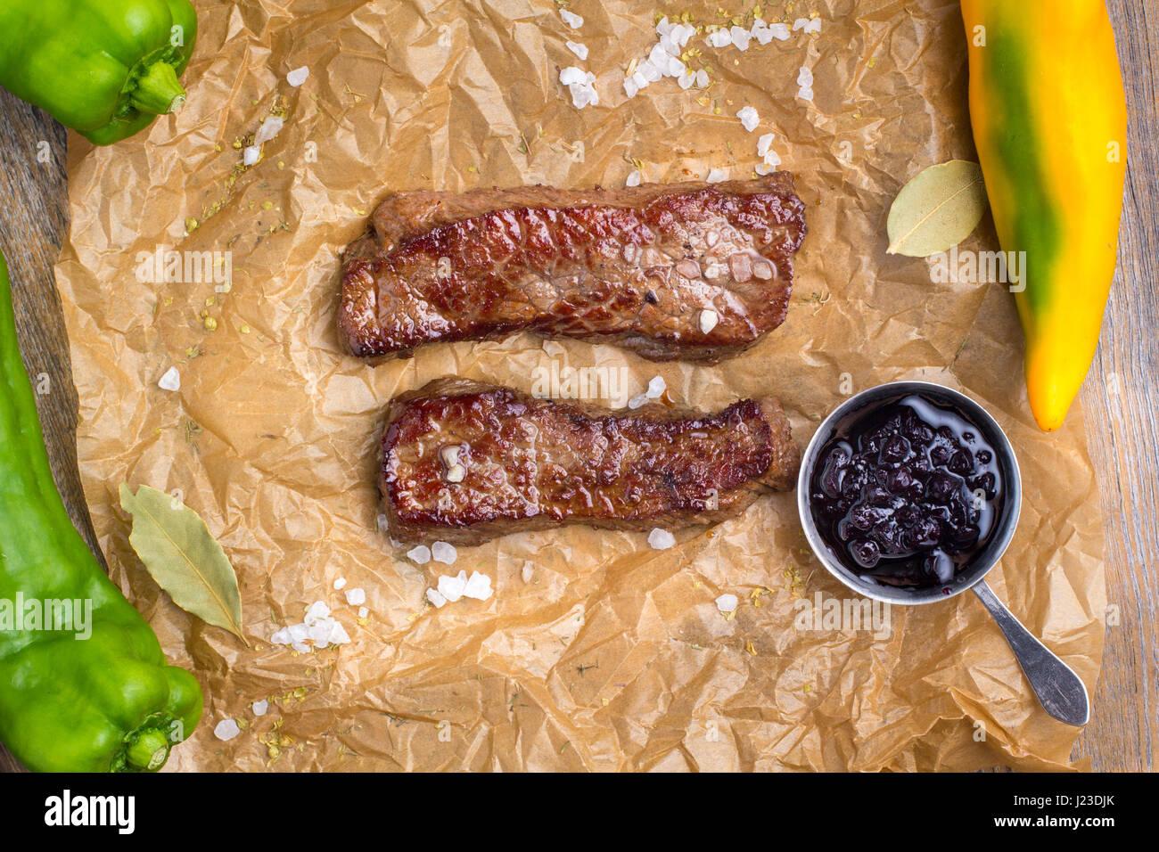 Still life - Pork steak. - Stock Image
