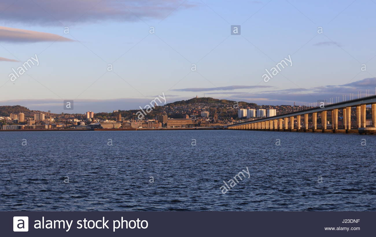 Tay Road bridge and Dundee waterfront in morning light Scotland  April 2017 - Stock Image