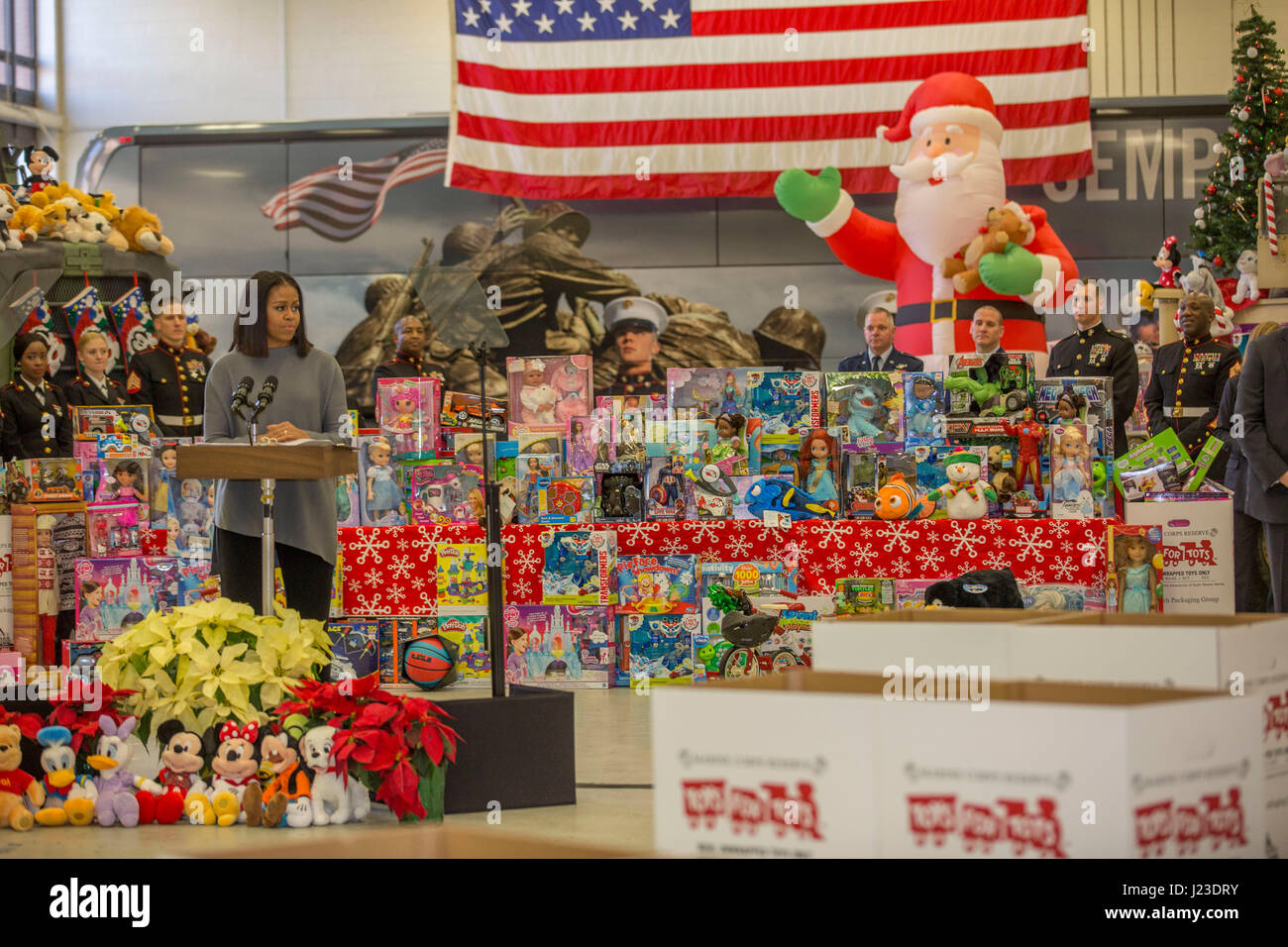 U.S. First Lady Michelle Obama speaks at a Toys for Tots event at the Joint Base Anacostia-Bolling December 7, 2016 Stock Photo
