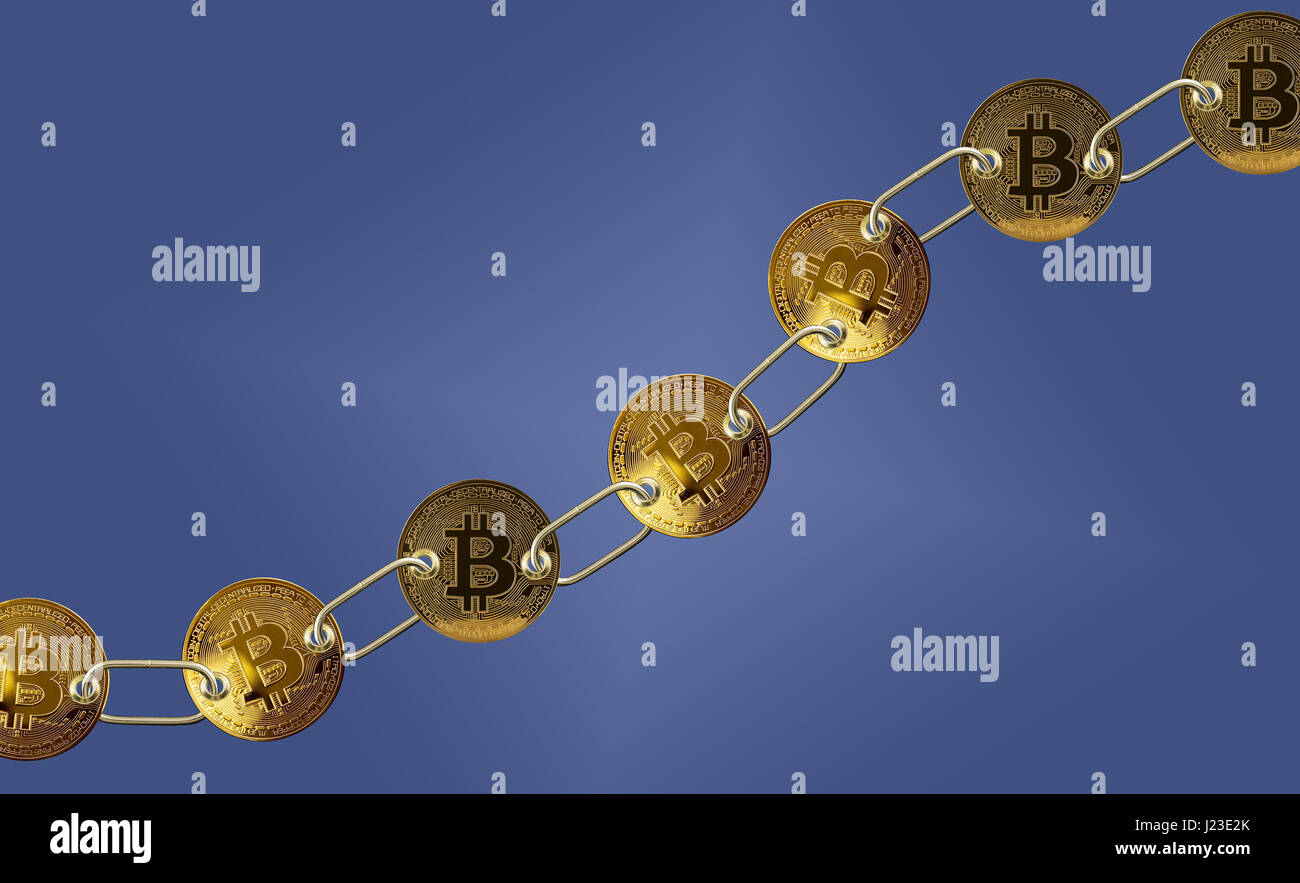 Set of gold bitcoins linked by chain - Bitcoin blockchain concept - Stock Image