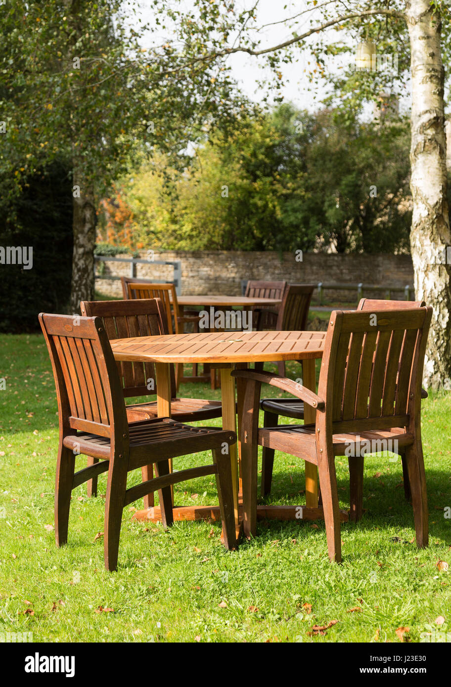 Garden furniture - tables and chairs - Stock Image