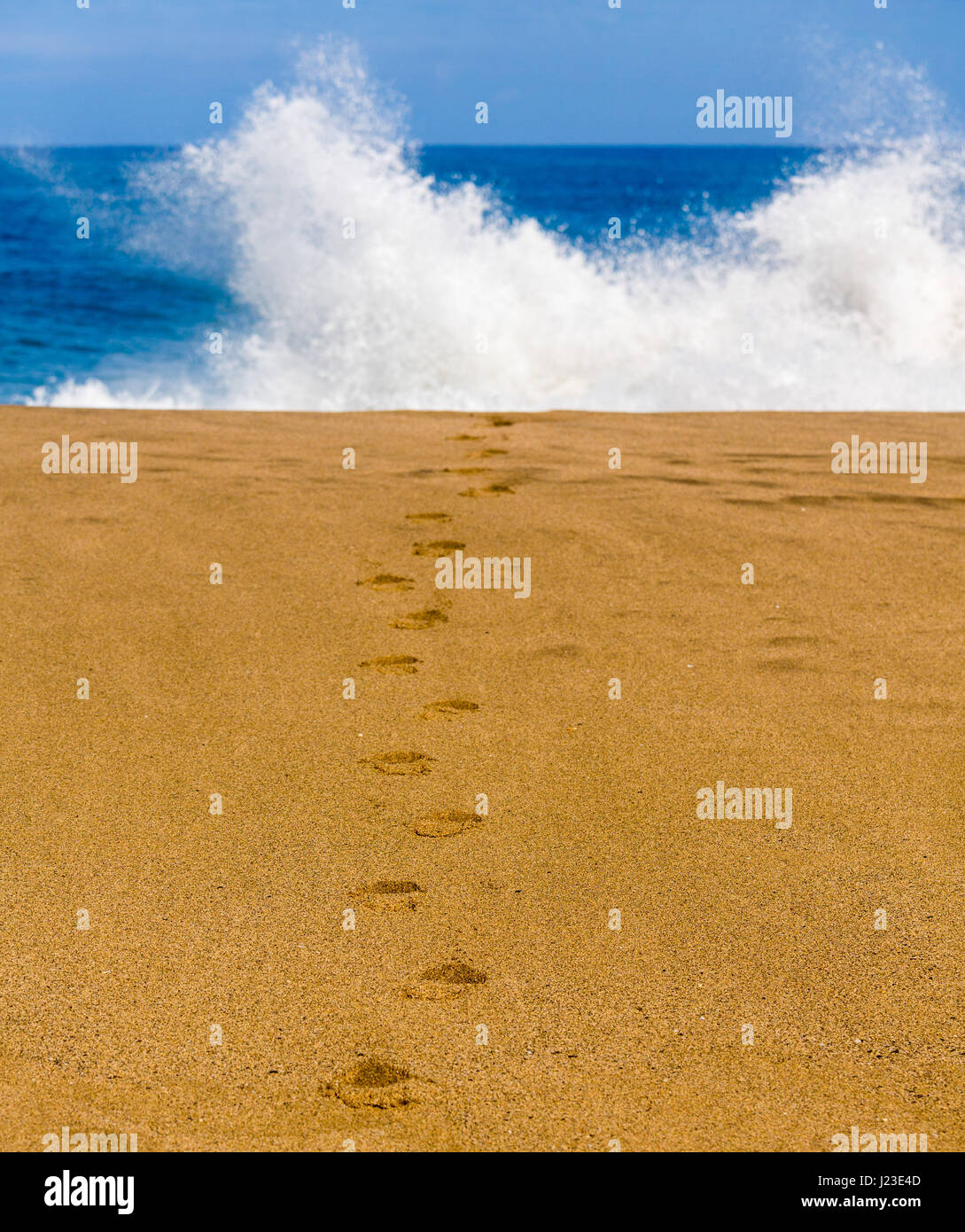 Footprints in the sand on a beach leading towards the sea with waves - Stock Image