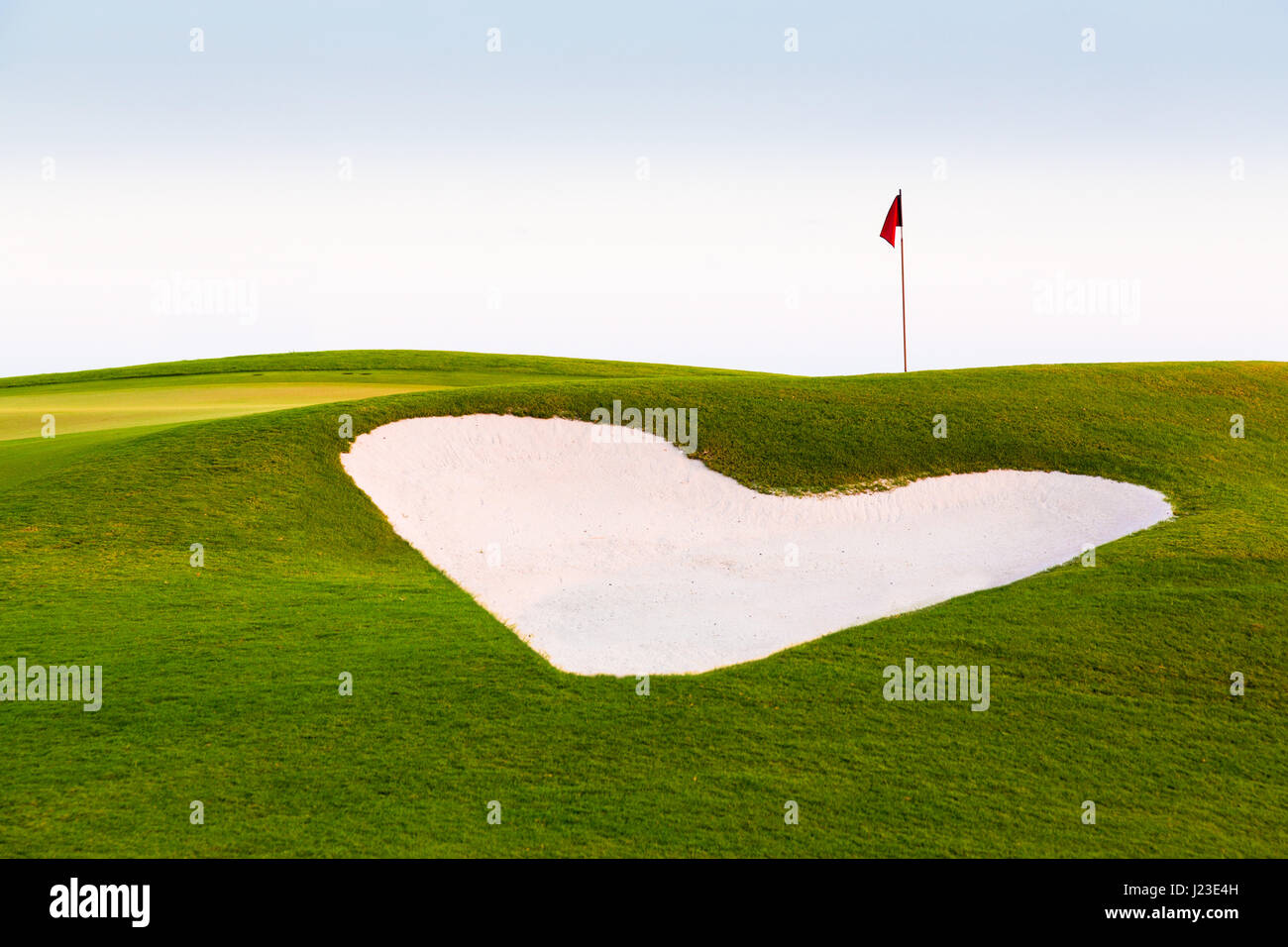 Heart shaped sand trap golf bunker on a golf course - Stock Image