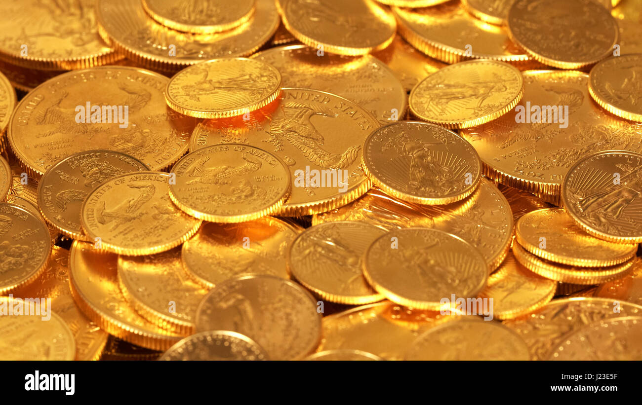 American Gold Eagle one ounce gold bullion coins - wealth concept - Stock Image