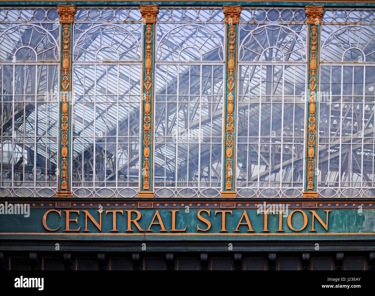 Glasgow Central Station window - Stock Image