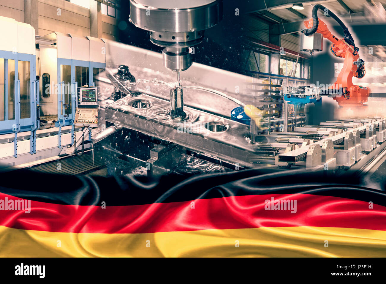 Industrial production and German flag - Stock Image