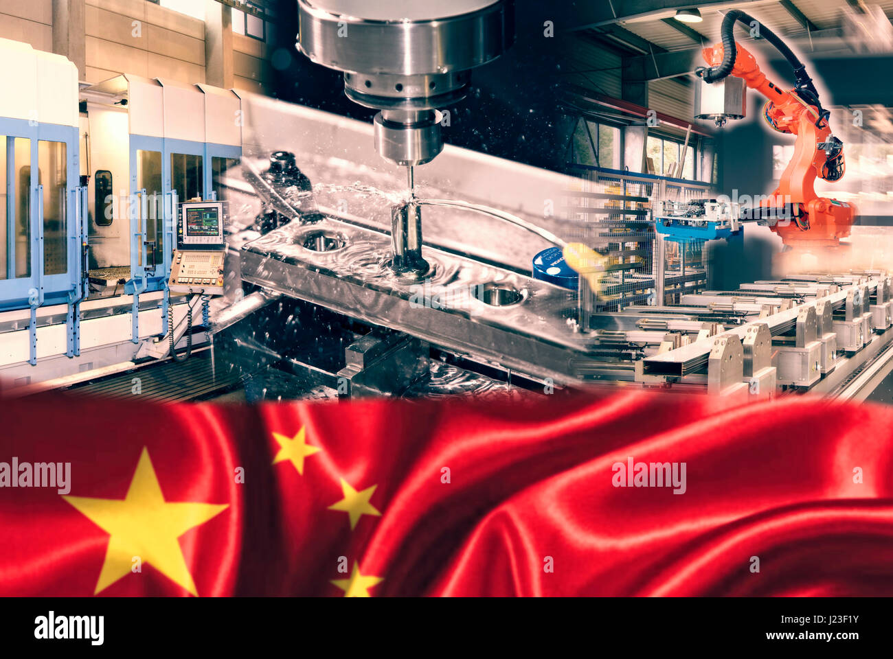 Industrial production and Chinese flag - Stock Image