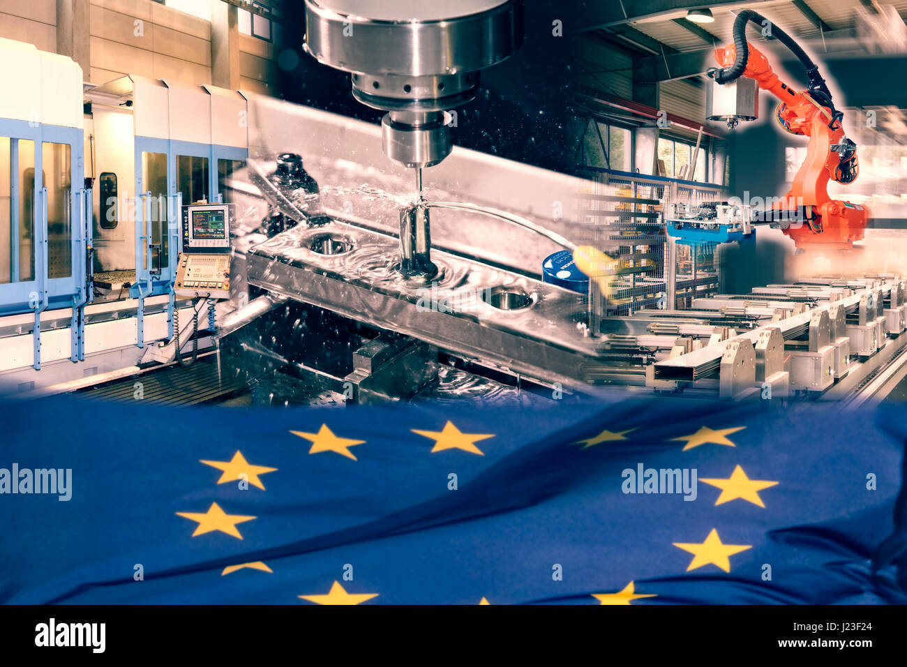 Industrial production and European flag - Stock Image