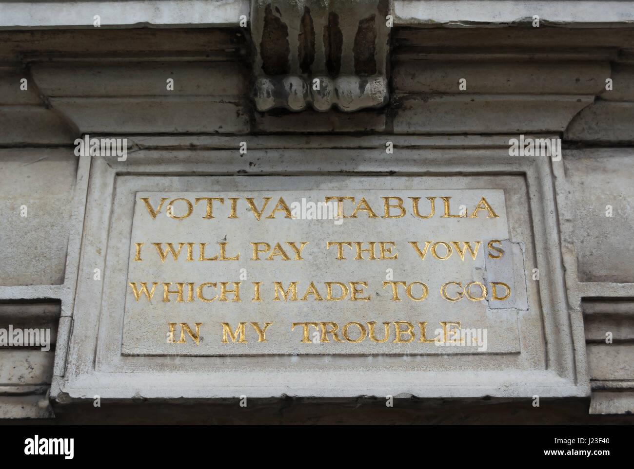 votiva tabula, latin inscription with english language vow following, on bishop duppa's almshouses, richmond, surrey, england Stock Photo