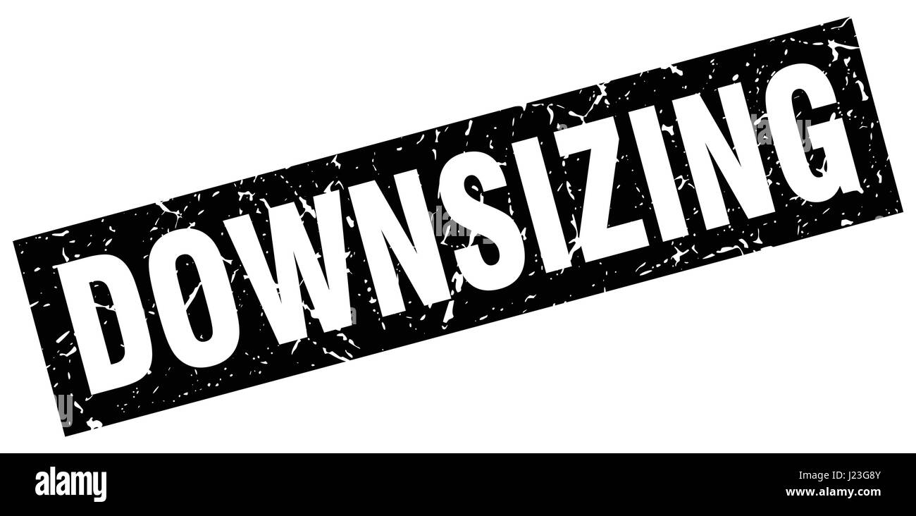 square grunge black downsizing stamp - Stock Vector