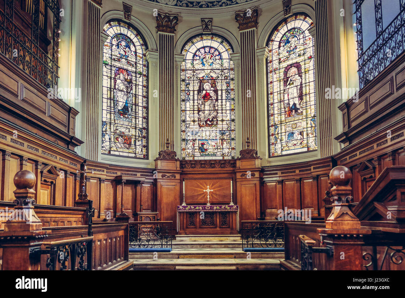 Saint Annes Church in Manchester, UK. View of the beautiful mosaic windows Stock Photo