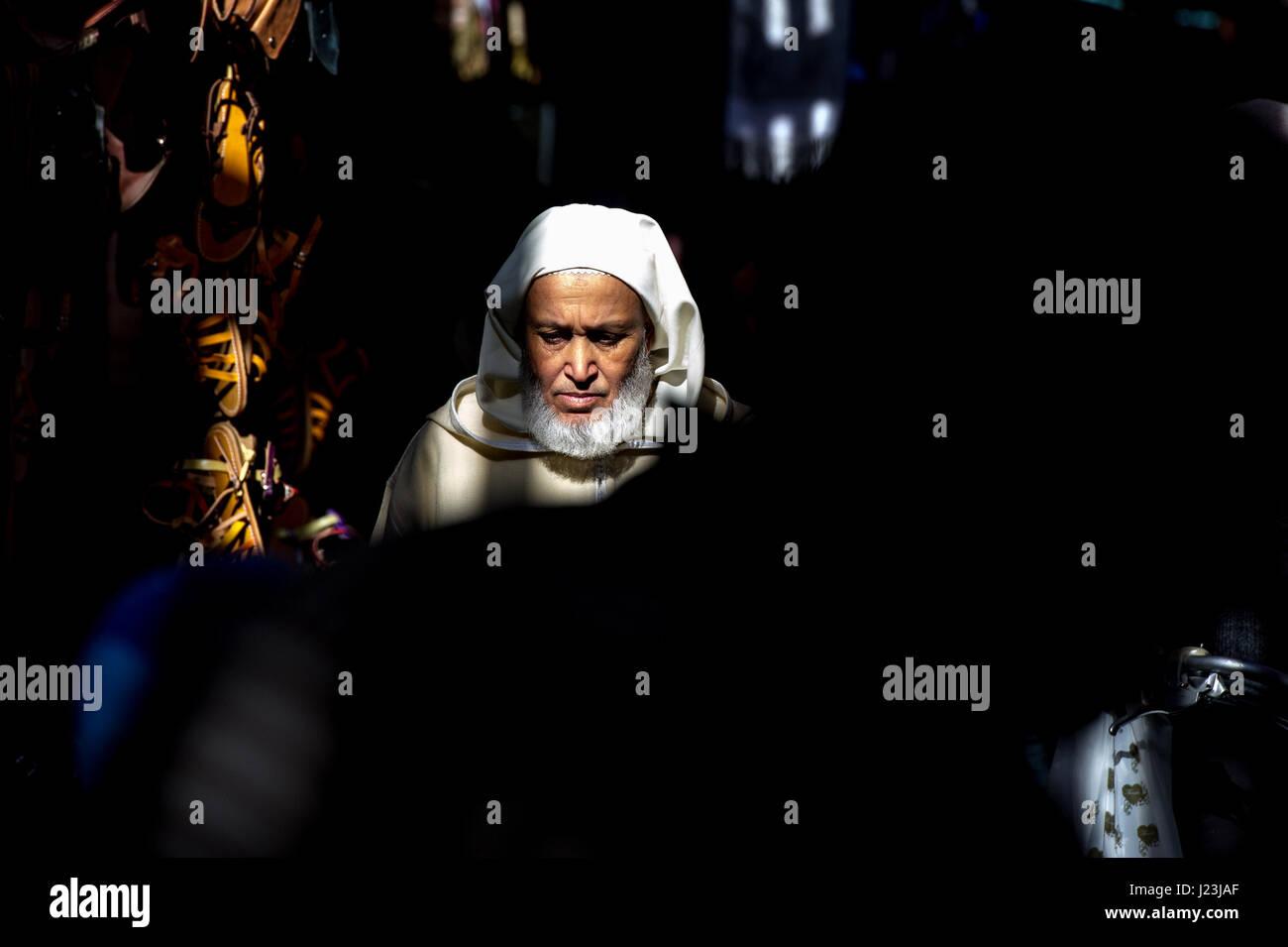 North Africa, Morocco, Marrakech, Portrait of a elderly man, Marrakesh, Morocco. - Stock Image