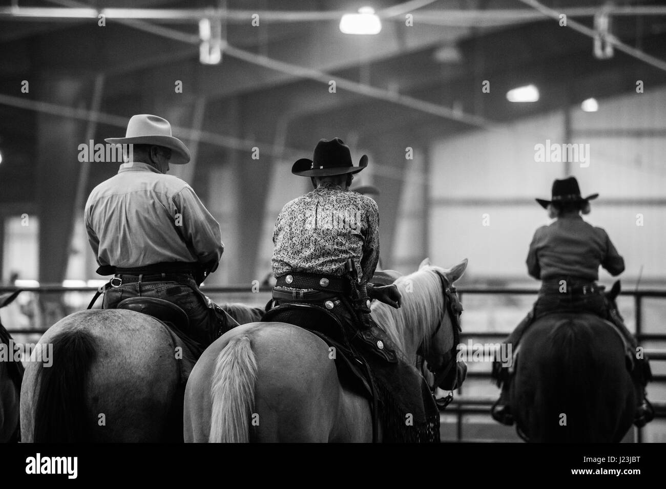 Salado, Texas, USA. Cowboy Mounted Shooting Event Texas. Riders before the competition. - Stock Image
