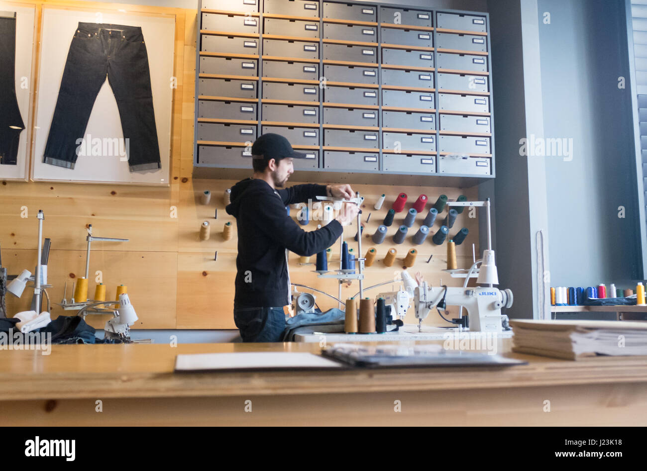 In house alterations in Levis store - Stock Image