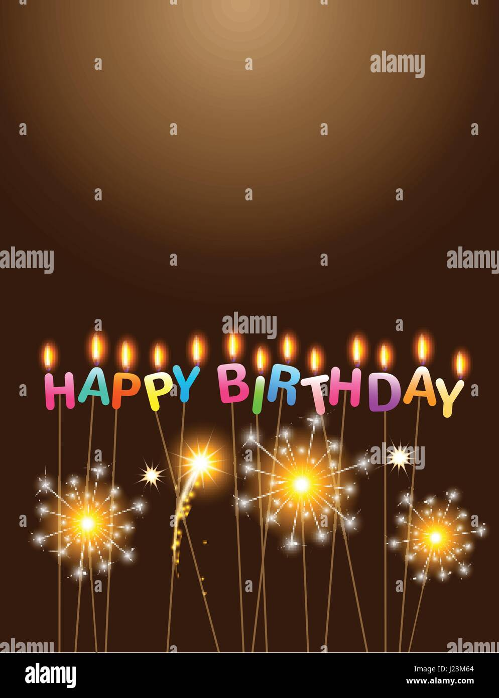 Sparklers with colorful candles happy birthday celebration - Stock Vector
