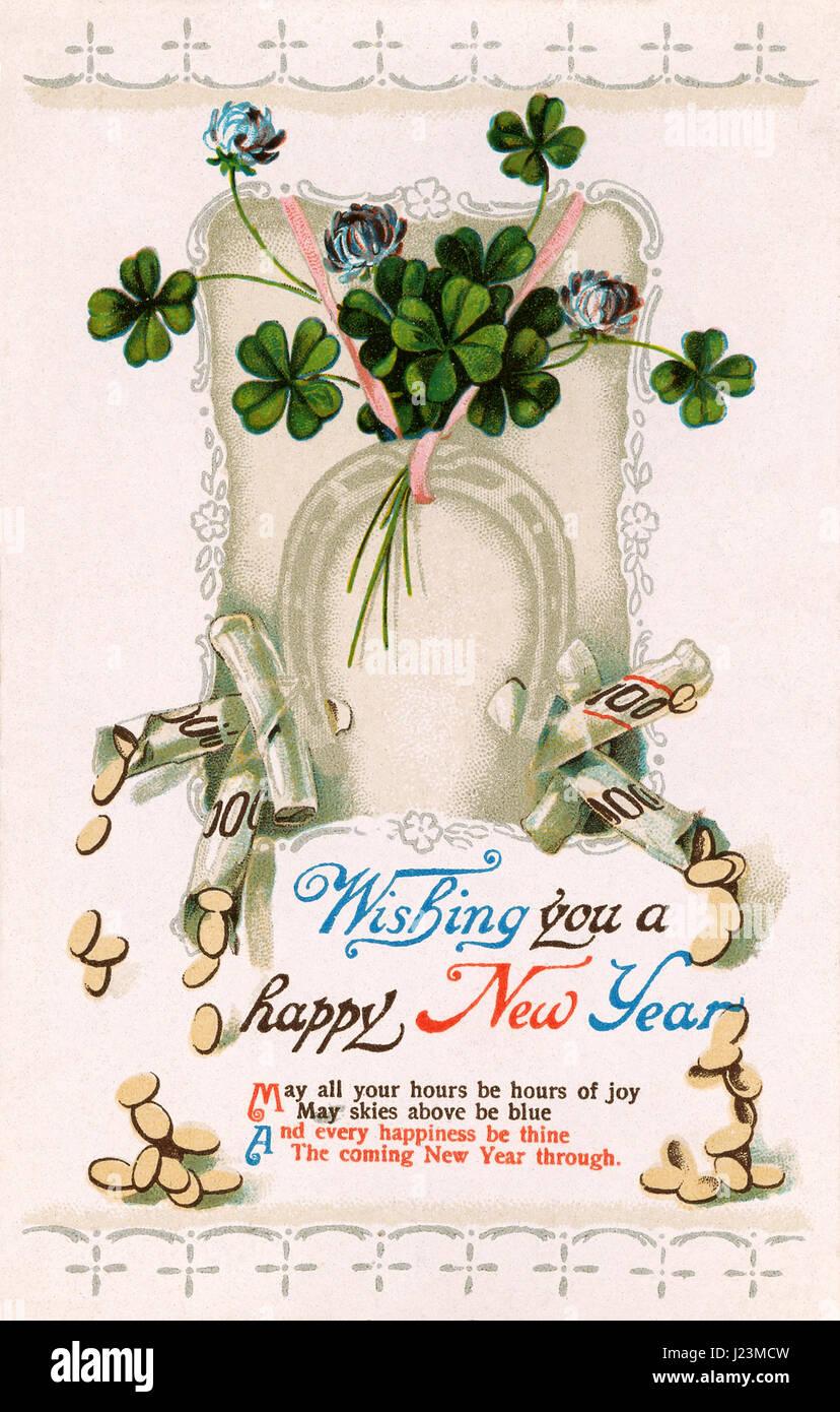 Edwardian era Happy New Year postcard. - Stock Image