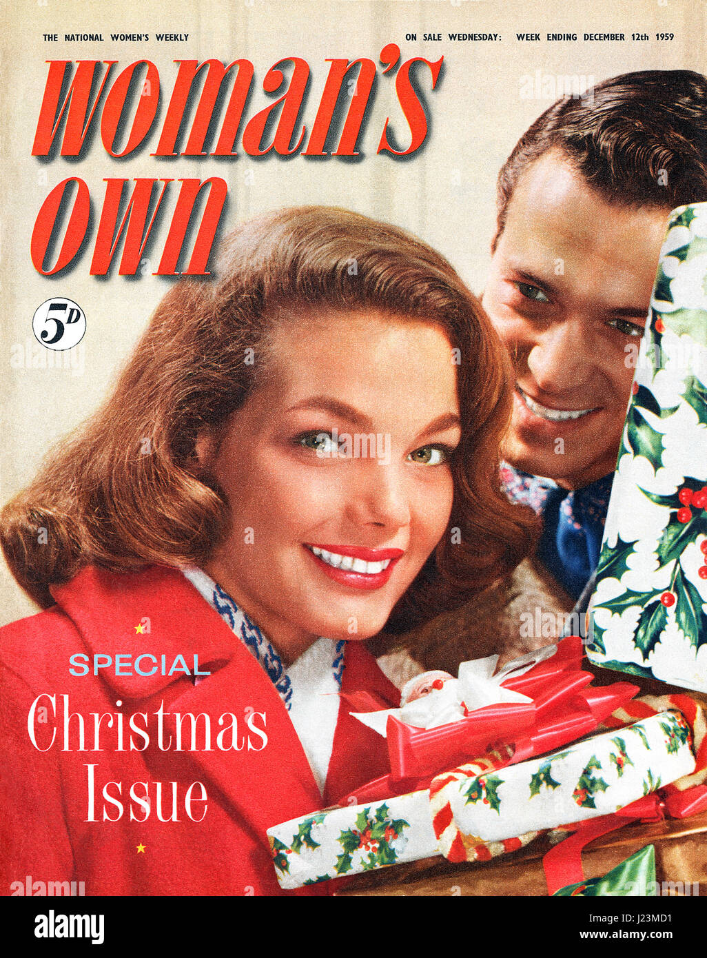 Front cover of Woman's Own magazine for the week ending December 12th 1959. Special Christmas issue. - Stock Image