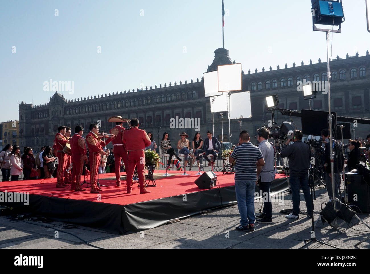 The filming of the Despierta America morning television show in the Zocalo in Mexico City, Mexico - Stock Image