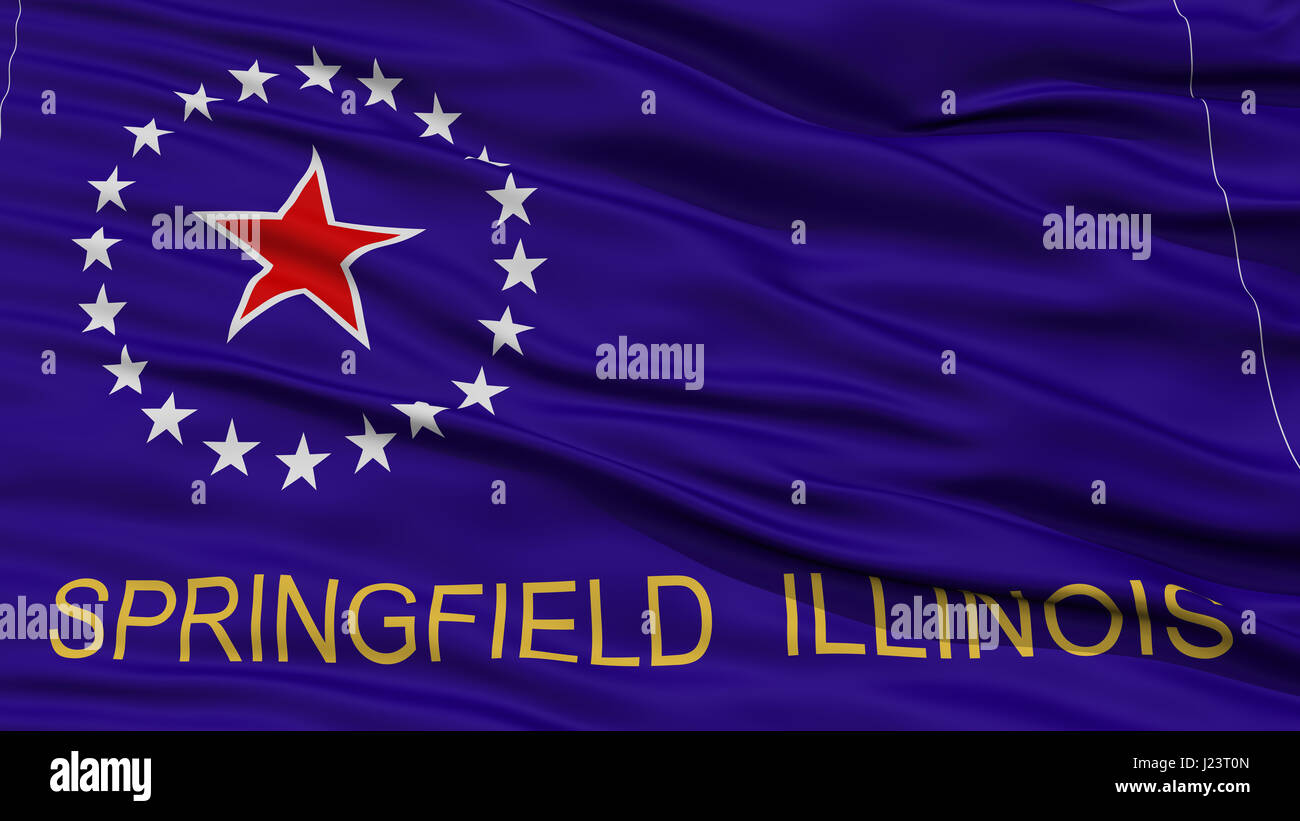 Closeup Springfield Flag, Capital of Illinois State, Flying in the Wind Stock Photo
