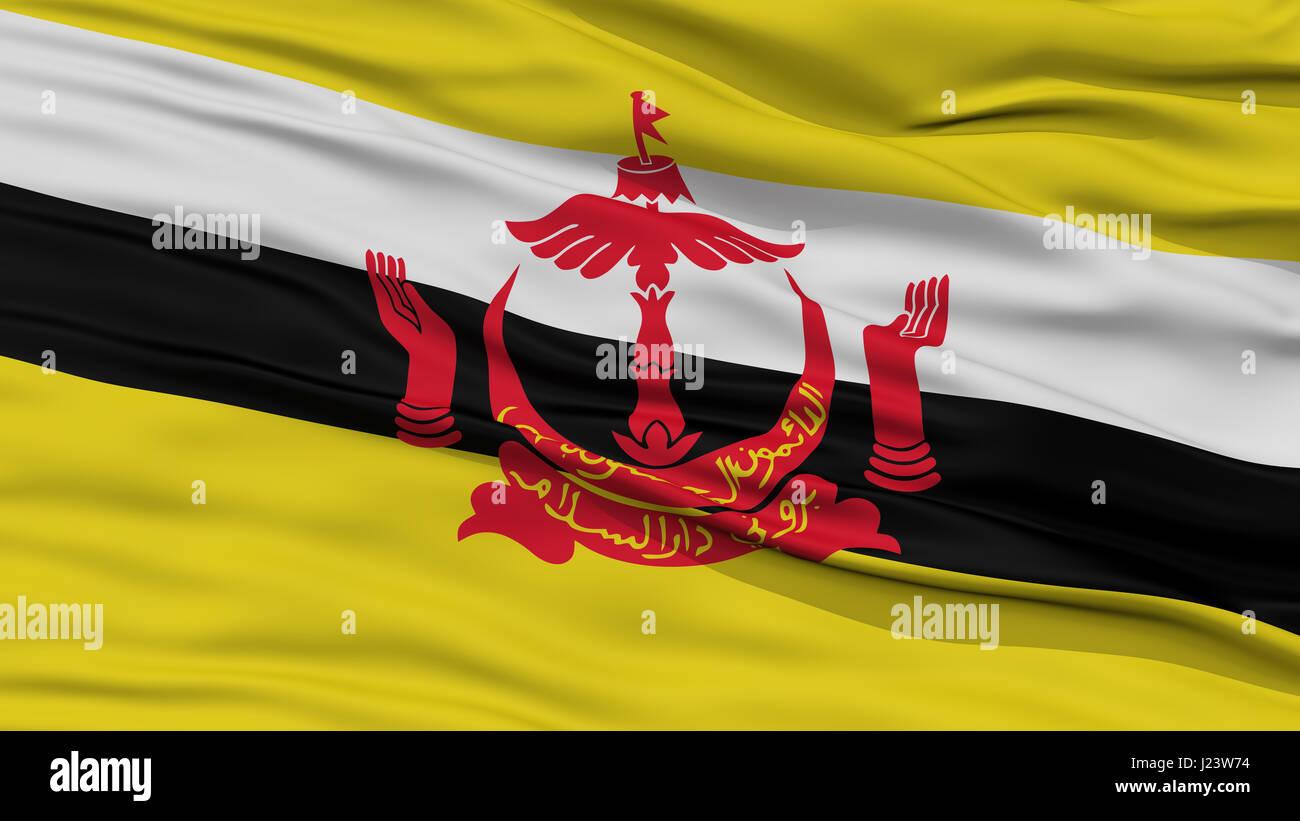 Closeup Bandar Seri Begawan City Flag, Brunei - Stock Image
