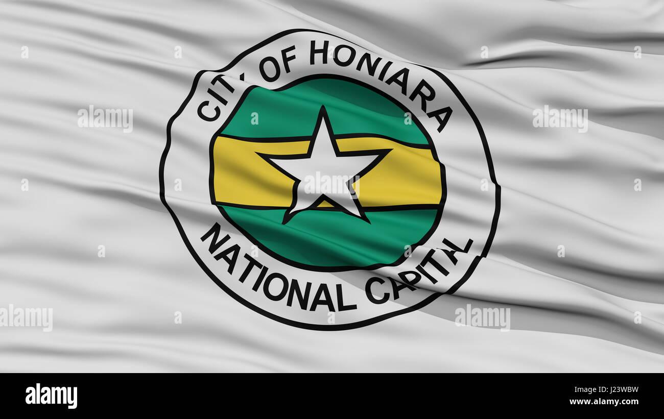 Closeup Honiara City Flag, Solomon Islands - Stock Image