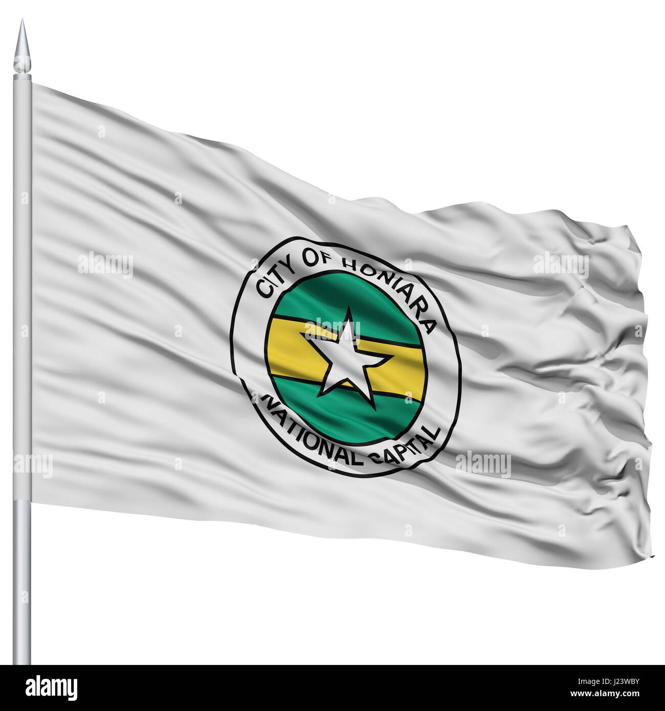Honiara City Flag on Flagpole - Stock Image