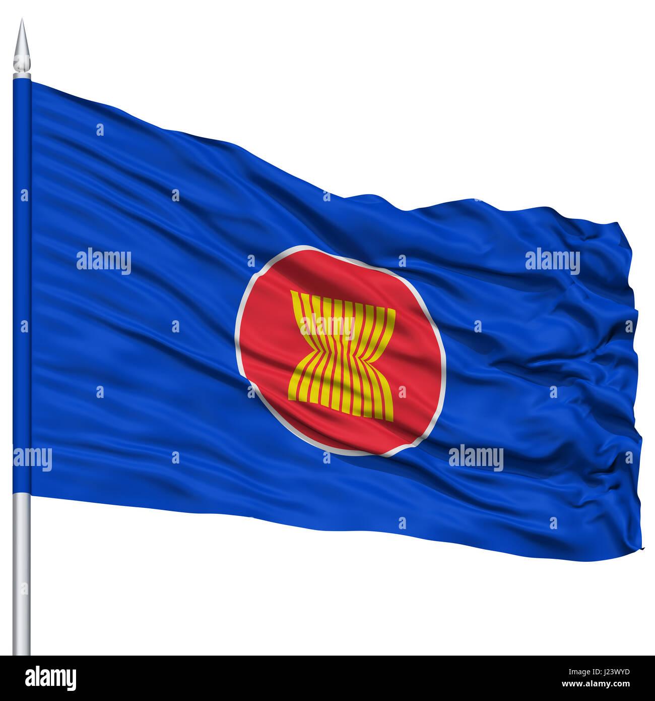 ASEAN Flag on Flagpole - Stock Image
