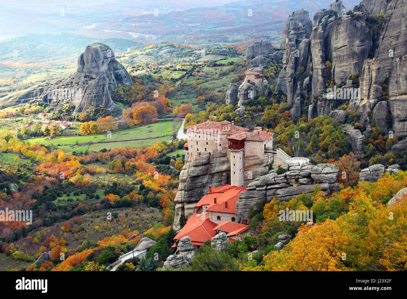 Beautiful landscapes and monasteries of Meteora in autumn, Kalambaka, Greece - Stock Image