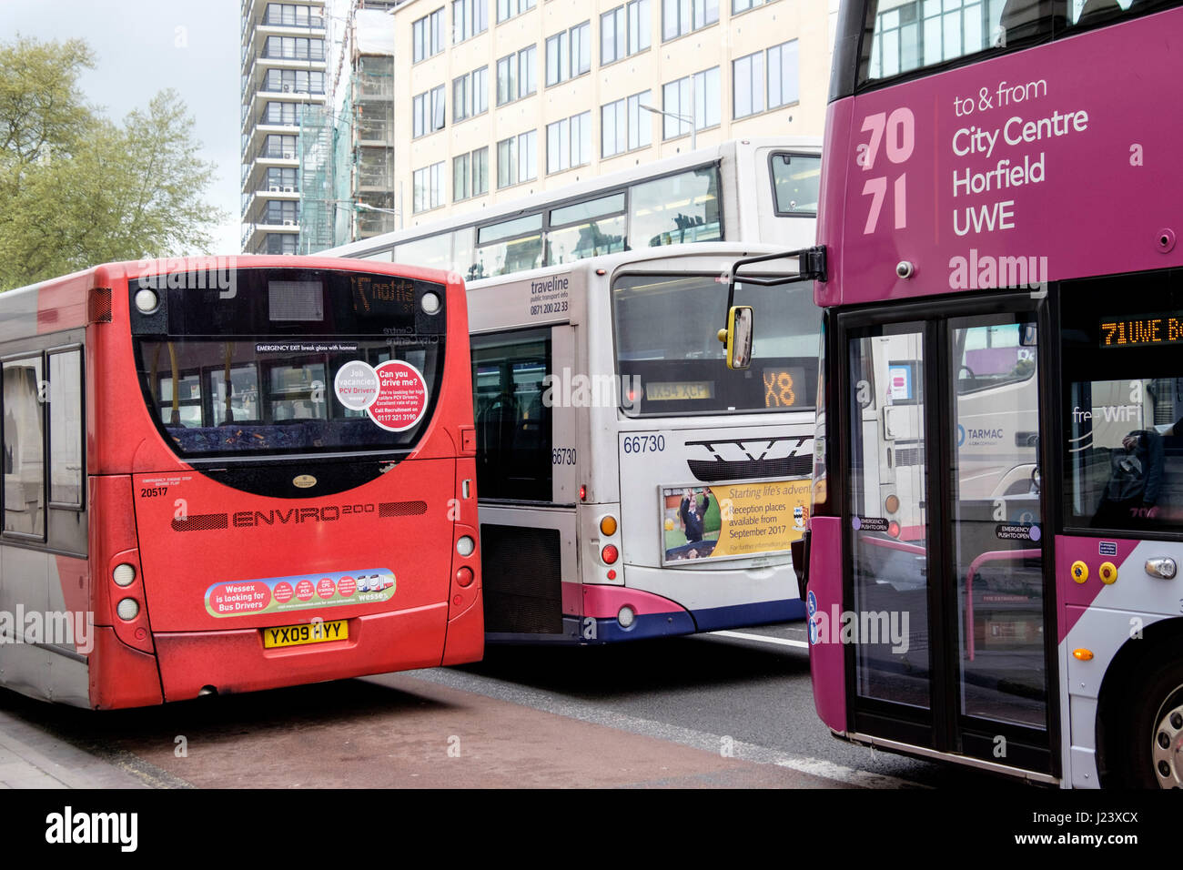 Bristol City  center traffic congestion and buses England UK - Stock Image