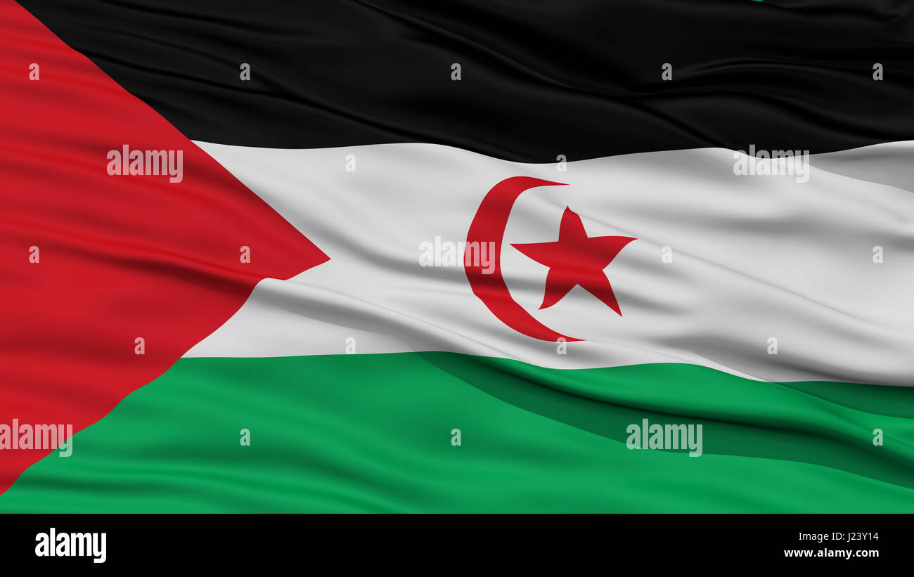 Closeup Sahrawi Arab Democratic Republic Flag - Stock Image