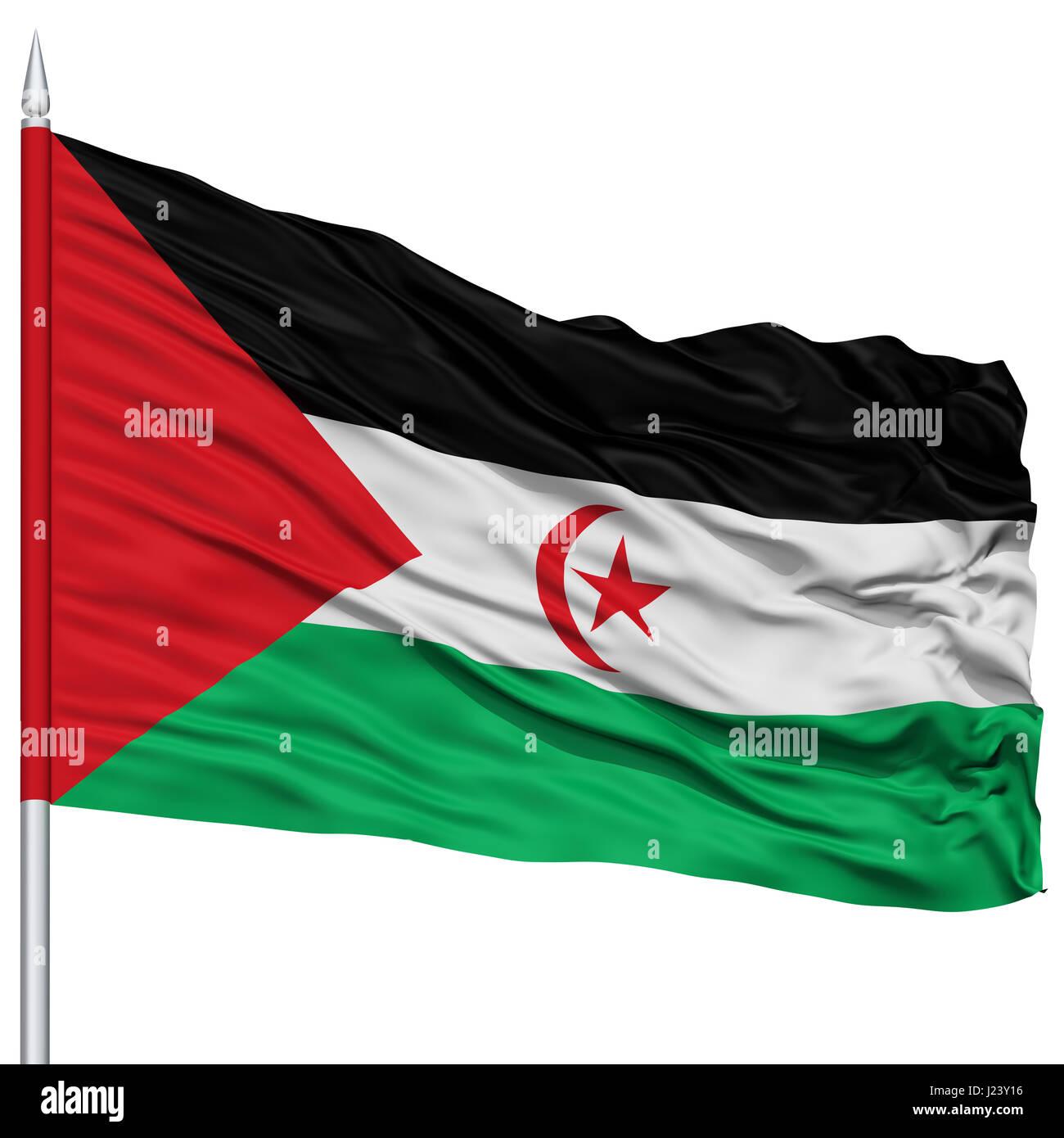 Sahrawi Arab Democratic Republic Flag on Flagpole - Stock Image