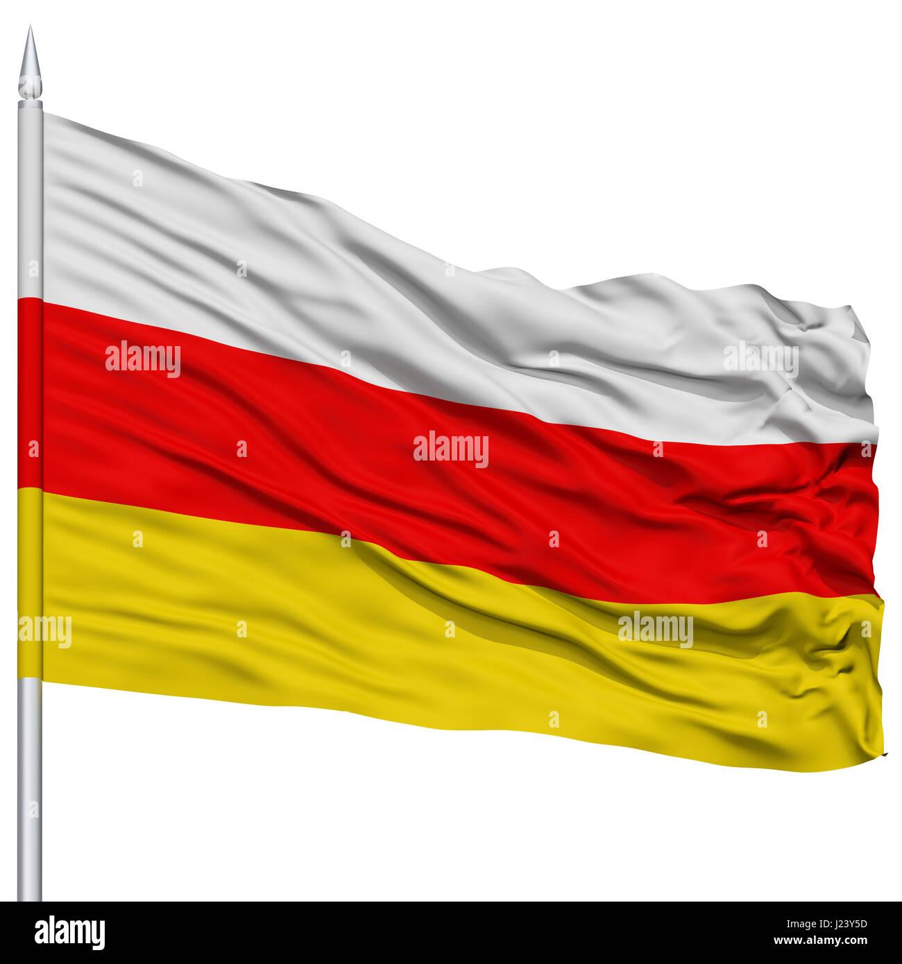 South Ossetia Flag on Flagpole - Stock Image